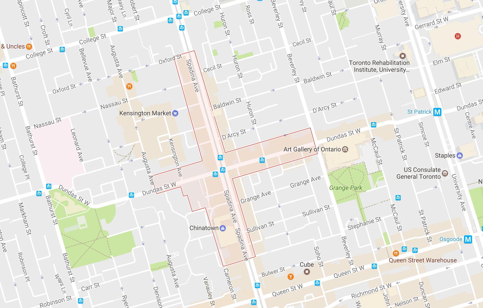 Chinatown Nachbarschaft Toronto map - Karte von Chinatown ...