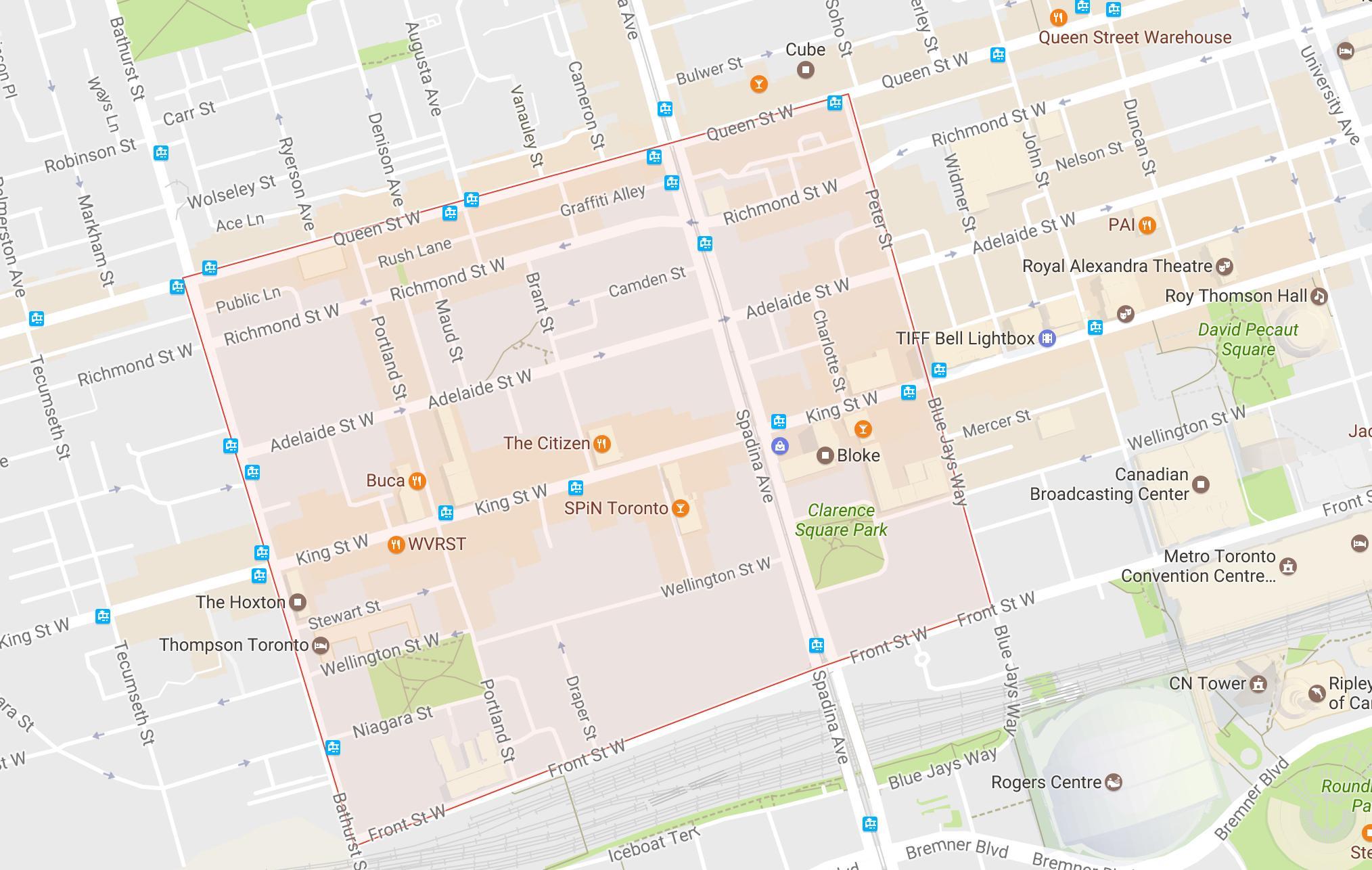 Fashion District Nachbarschaft Toronto map - Karte von Fashion ...