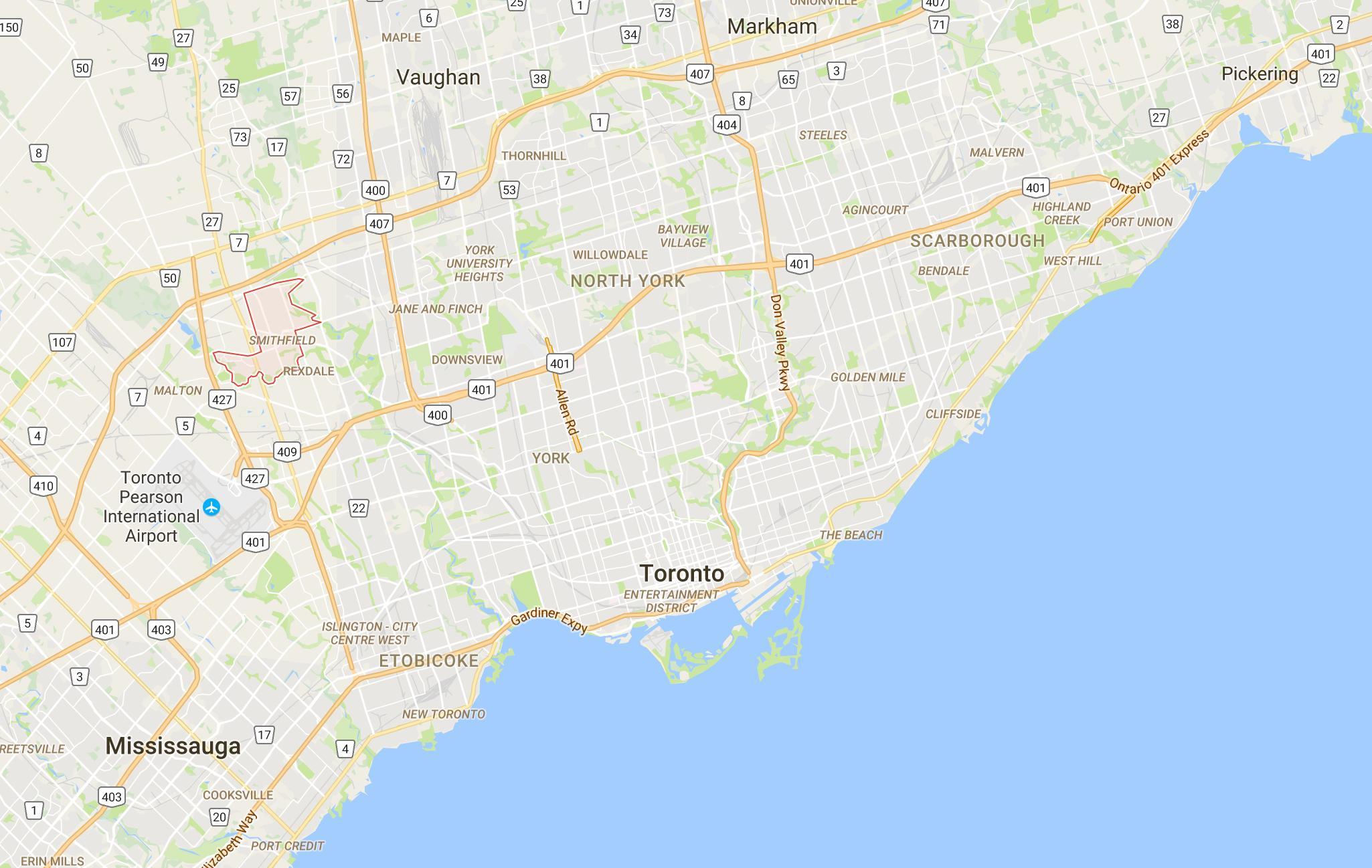 toronto karte Smithfielddistrict Toronto map   Karte von Smithfielddistrict