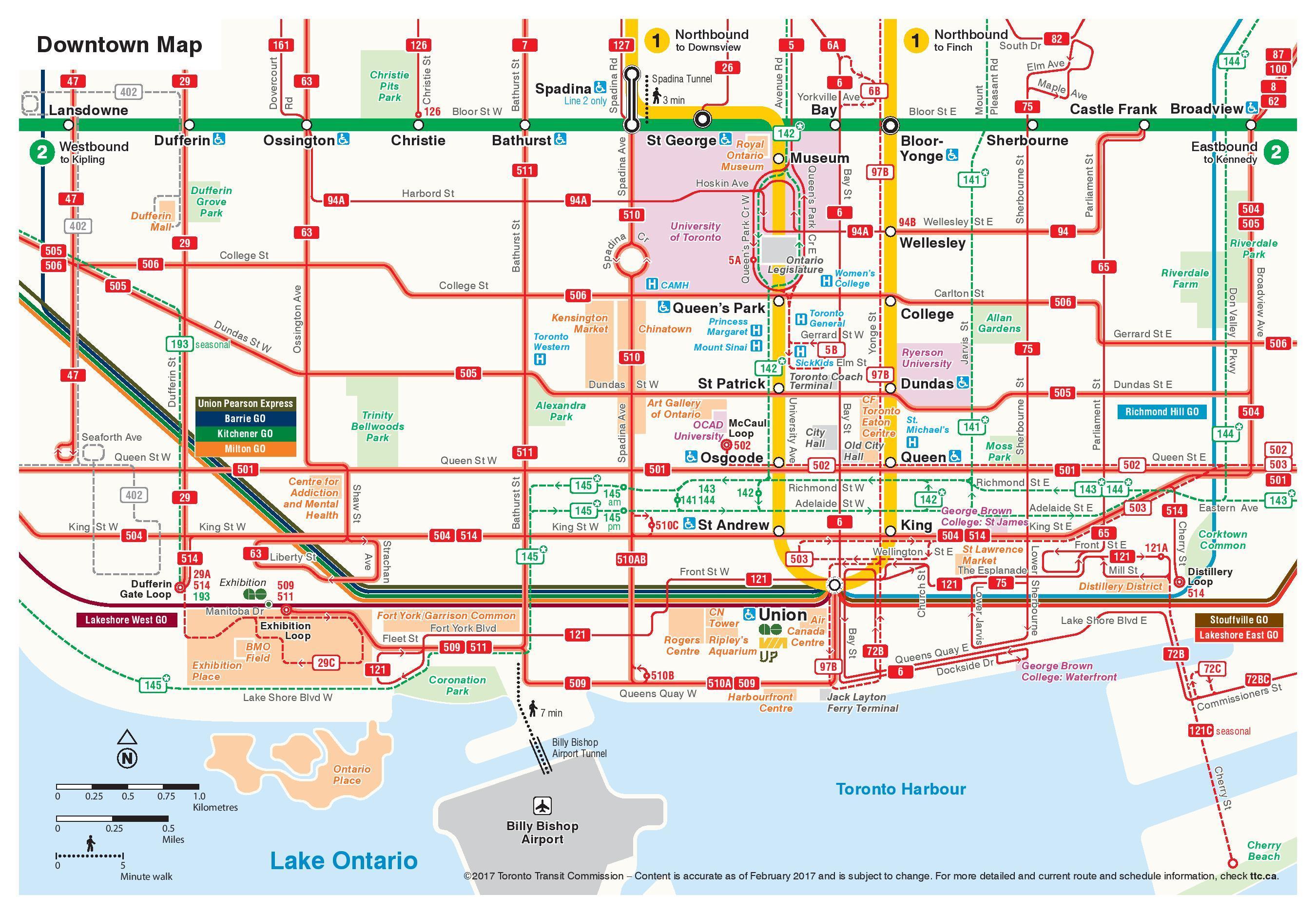 TTC downtown map - Karte des TTC downtown (Kanada) on