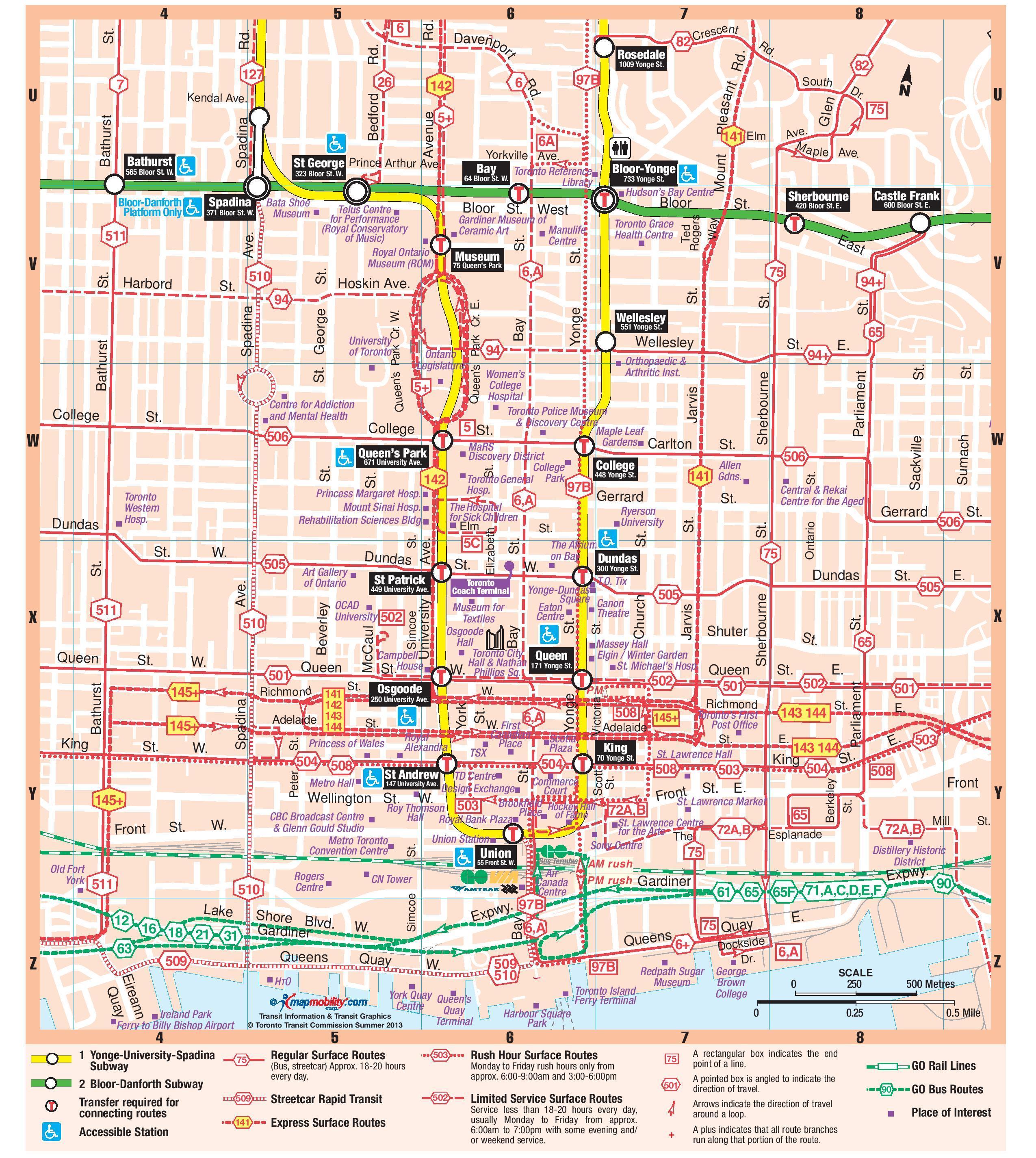 U Bahn Station Downtown Toronto Map Karte Des U Bahn