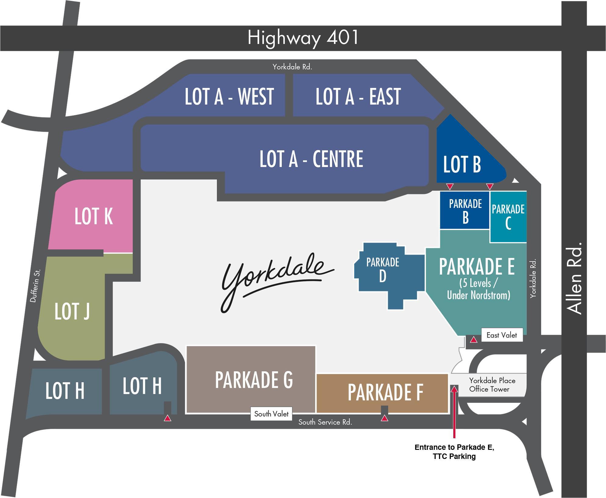 Yorkdale Shopping Centre Parken map - Karte von Yorkdale Shopping ...